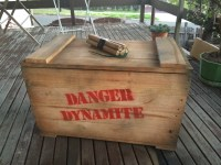 Hand made dynamite crate/blanket/storage box. 30in L x 16 in W x18in H