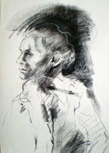 Portrait and torso titled Head Study, 2003, a life drawing of male model
