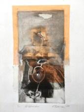 Diffusion, 2016, intaglio and chine colle, 30x14 cm