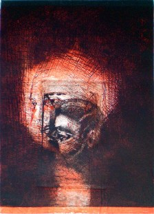 Etching with 2 plates titled, Risen, 2009, 26x18 cm print, 36x28 cm paper, intaglio and drypoint.