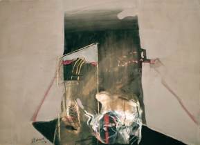 Art titled Contemplating the Golden Spike 1, 2013, 55x75 cm, gouache, charcoal and pastel from Begin with Sand, Silt and Water