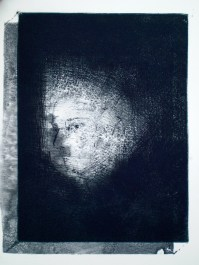 Etching titled Slipping Away, 1/1, 2009, wash, intaglio and drypoint from series titled Natalie with the Gaze and the Glance