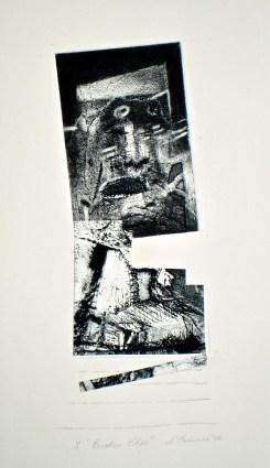 Broken Edge, 2010, intaglio, collage and pencil 27x10 print, 50x35 cm paper
