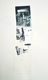 Falling Column, 2010, intaglio and collage 37x12 cm print, 50x35 cm paper