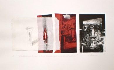 Mineralised Column, 2010, intaglio and collage 13x30 cm print, 35x50 cm paper