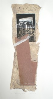 Receding Tide, 2010, intaglio and collage 40x16 cm print, 50x35 cm paper