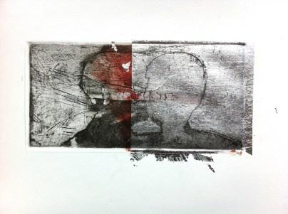 Terrestrial Mind 1, 2015, intaglio and silver leaf on BFK Rives 13x26 cm
