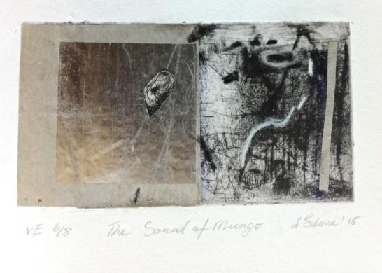 The Sound of Mungo, VE 6/8, 2015, intaglio and collage, 12x6 cm