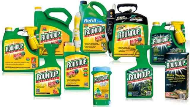 Round-up, het zeer giftige bestrijdingsmiddel.