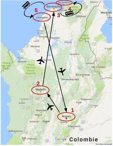 Carte de notre itinéraire en Colombie