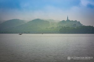 China, Zhejiang Province, Hangzhou: Westlake with Boats and Bao Chu Pagoda