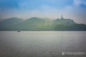 China, Zhejiang Province, Hangzhou: Westlake with Boats and Bao Chu Pagoda