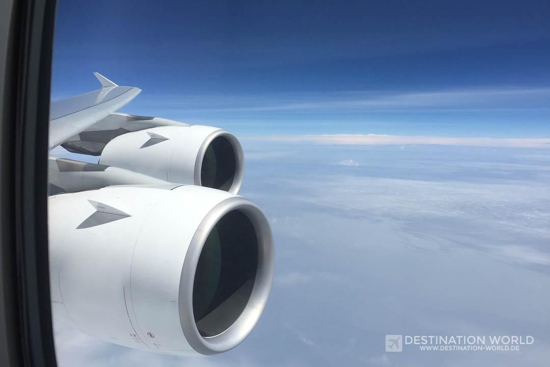 A380 Triebwerke aus dem Fenster fotografiert