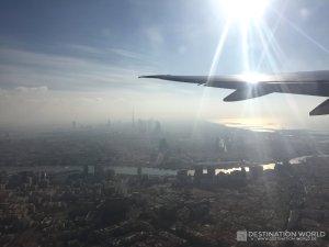 Abflug von Dubai Airport mit tollem Blick über den Creek und die Skyline von Downtown