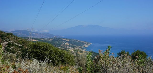 View from Zakynthos to Kefalonia
