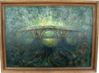 Мостът на Колю Фичето в Дряново, картина на Дончо Дончев