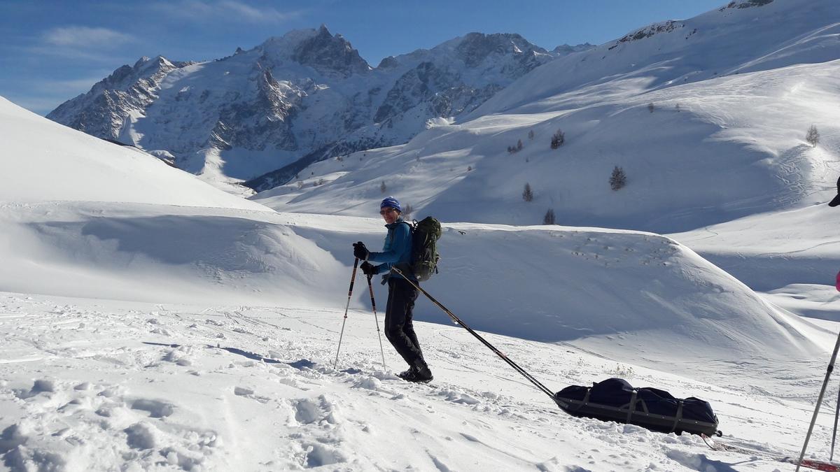 Ski nordique et pulka au refuge du Pic du Mas de La Grave