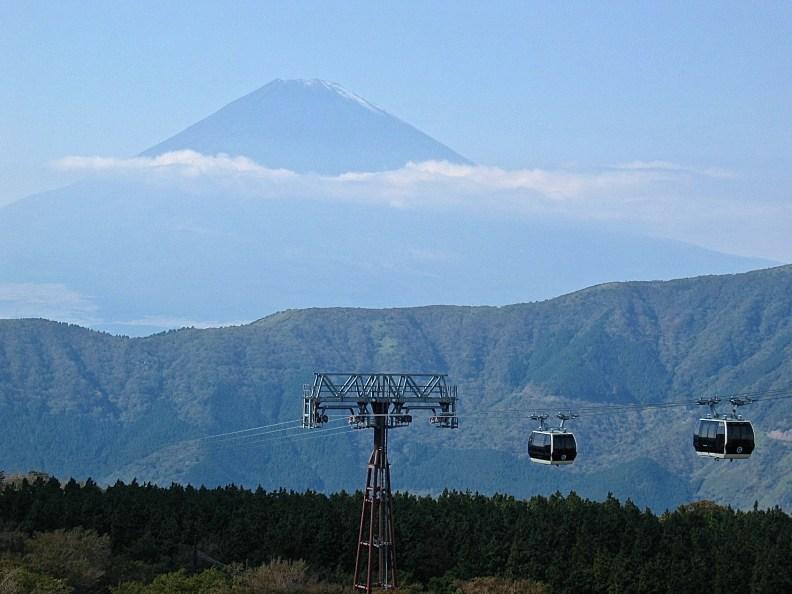 Commanding view of Fuji san from the Owakudani ropeway station.
