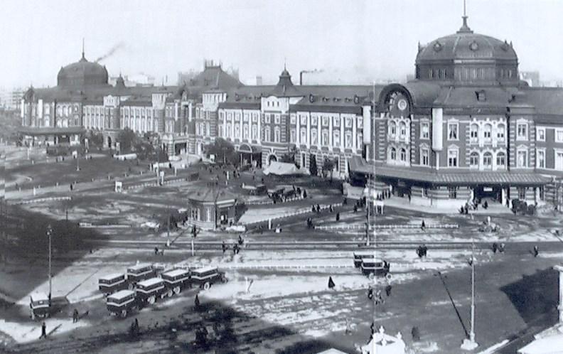Tokyo station in 1914 . Source Wikimedia files -public domain photo