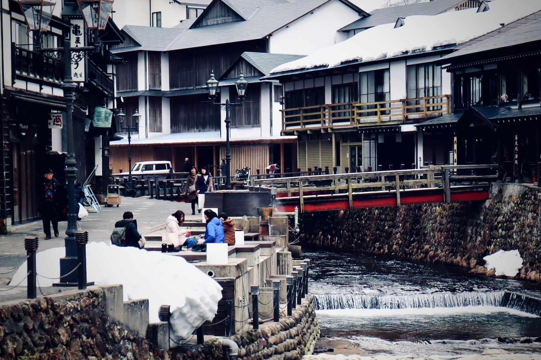 Ginzan Onsen - Fujiya ryokan in the background