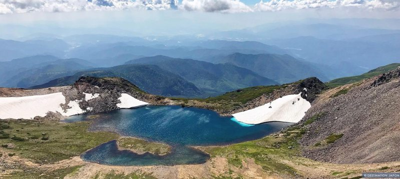 Vue de la caldera du cratère sur les hauteurs de Norikura
