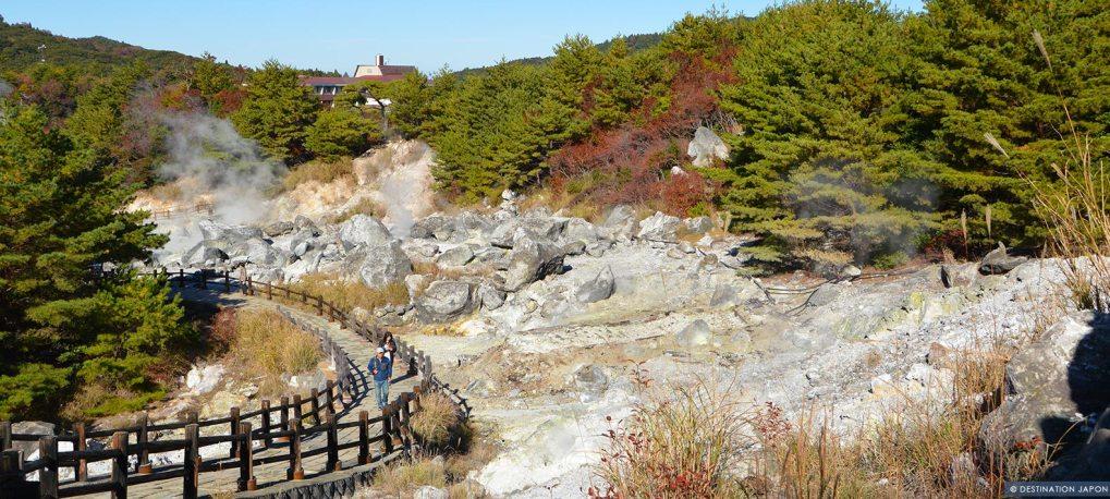 Zone volcanique à Unzen en automne