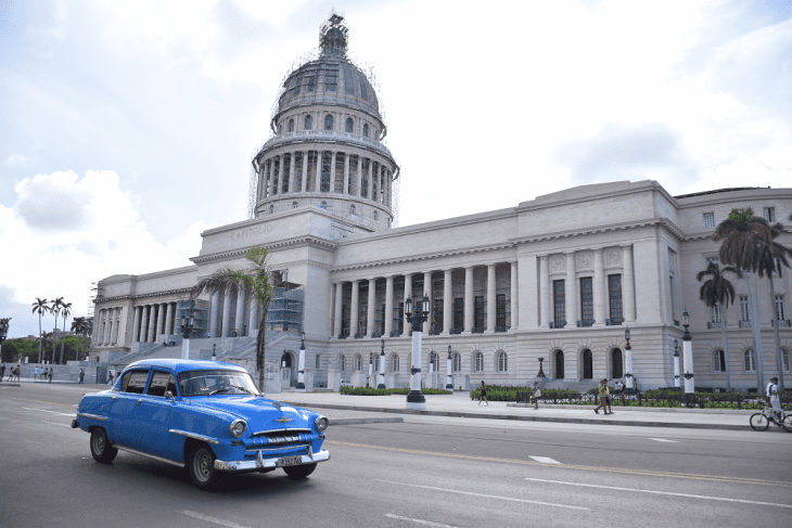 The capital in the main Central Park in Old Havana