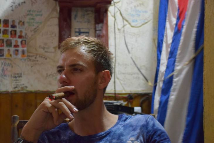 smoking a cigar in cuba