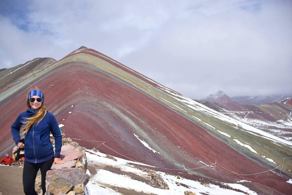 the top of rainbow mountain hiking peru