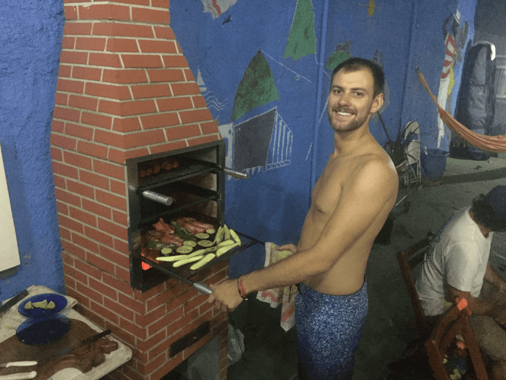 cooking in an outdoor hostel kitchen