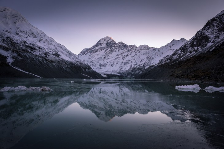 mount cook reflected on hooker valley lake