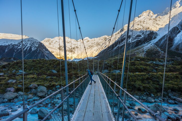 the bridge along the hooker valley
