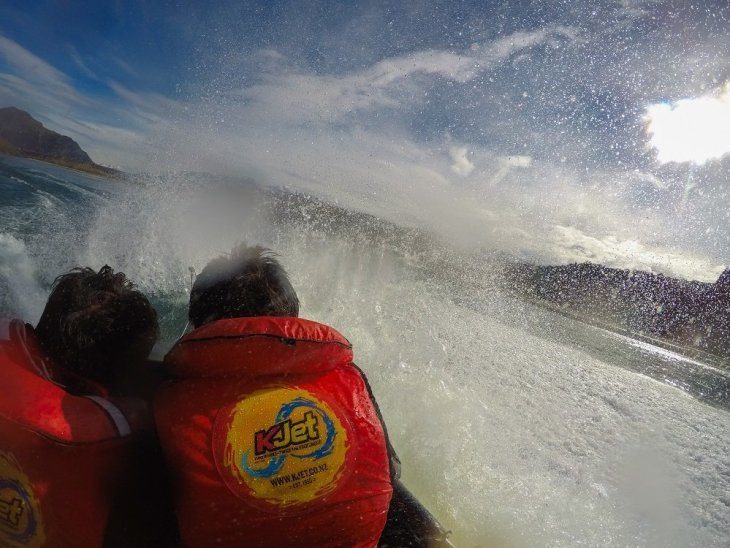 getting splashed on a high speed boat ride in Queenstown