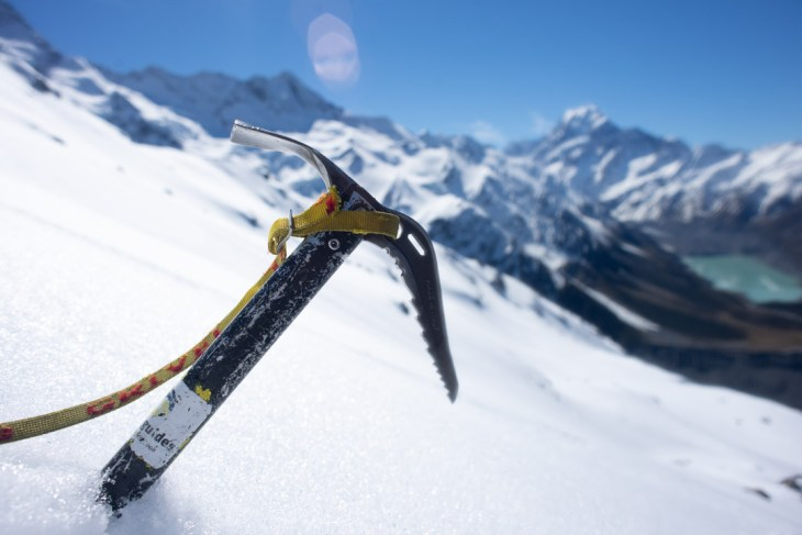 an ice pick on the way to the mueller hut