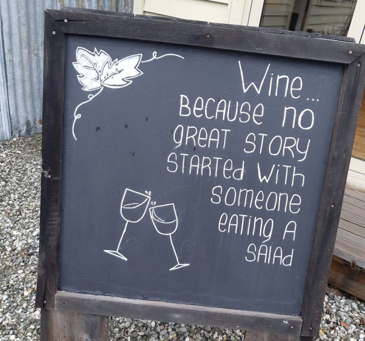 wine because no great story stared with a salad