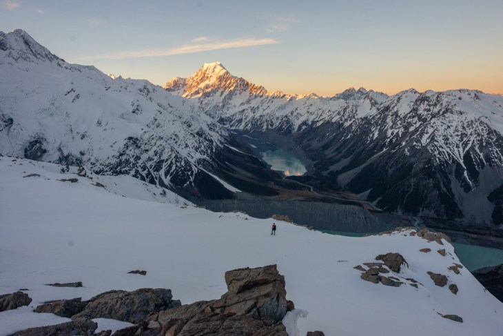 view from the mueller hut in mount cook national park