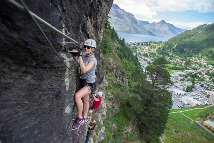 climbing the via ferrata route in Queenstown