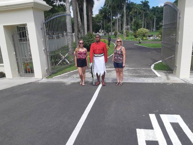 at the presidents house in fiji with the guard