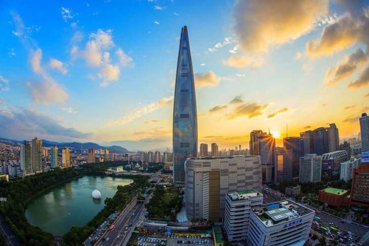 The Lotte World Tower in Seoul.