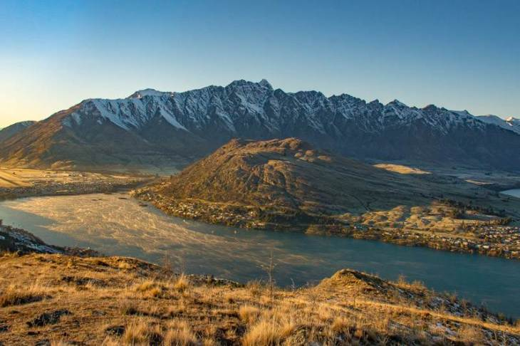 The view from Queenstown hill while hiking in Queenstown, New Zealand