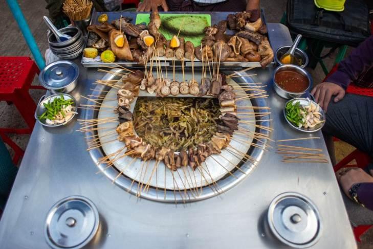 pork sticks are common streetfood in yangon myanmar