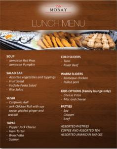 Club MoBay Lunch menu