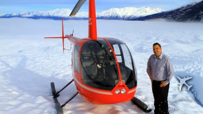 Sean Brown standing on a Glacier in Anchorage, Alaska