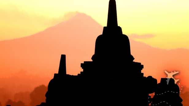 Candi Borobudur with Merapi in background in Indonesia