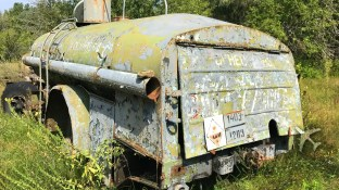 Abandoned fuel truck at Duga-1