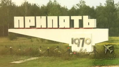 Sign at the entrance to Pripyat