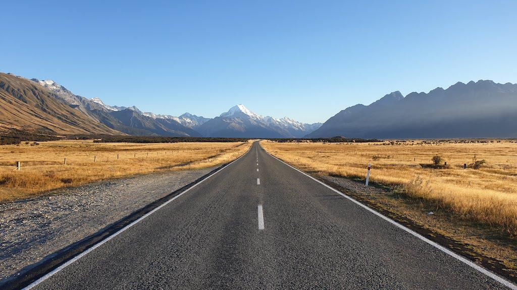 route pour rejoindre le Mont Cook