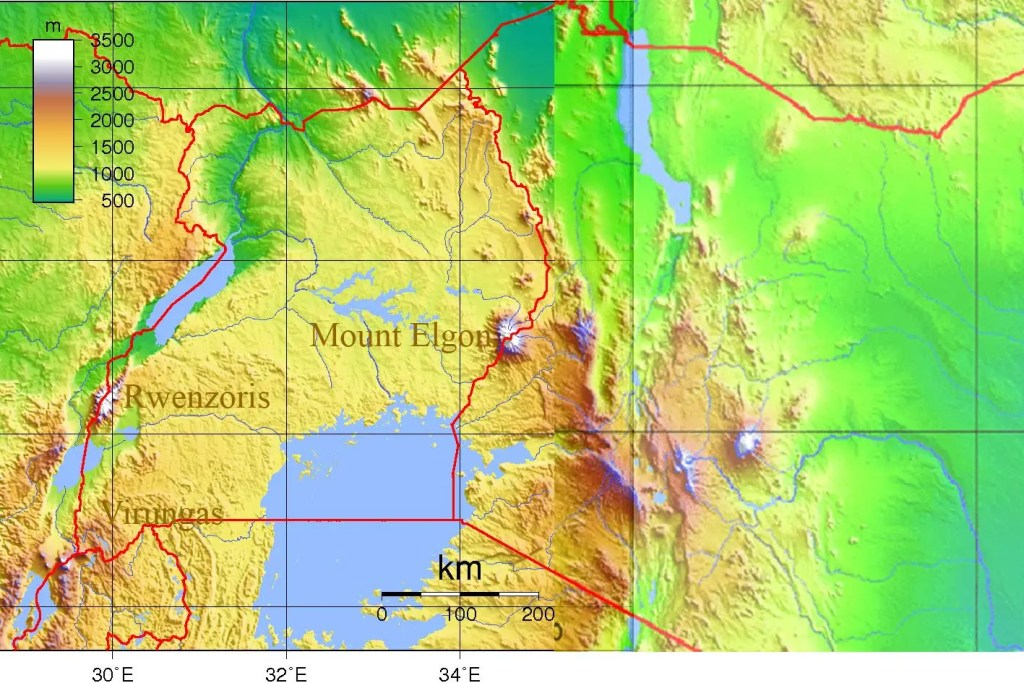 Topography of Uganda Map