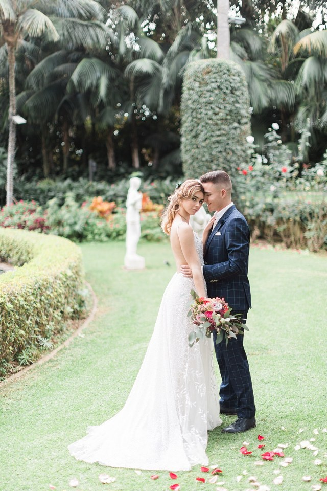 Portrait de mariage de jardin