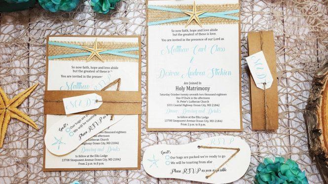 Beach Theme Wedding Invitations Destination Details